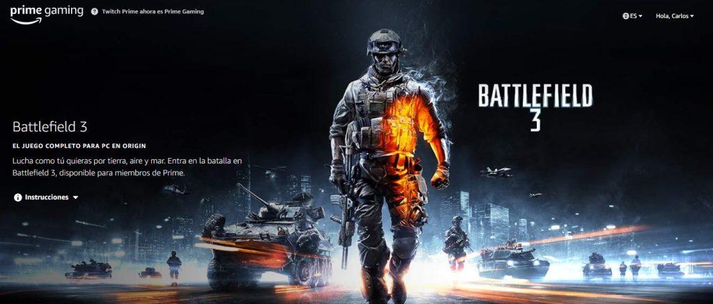 Foto de Canjea gratis Battlefield 3 con tu cuenta de Twitch Prime