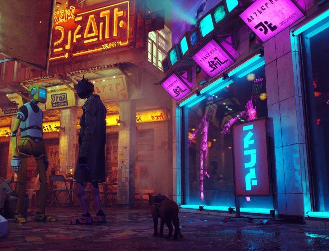 Fotos de Gameplay de Stray, juego estilo cyberpunk donde eres un gato