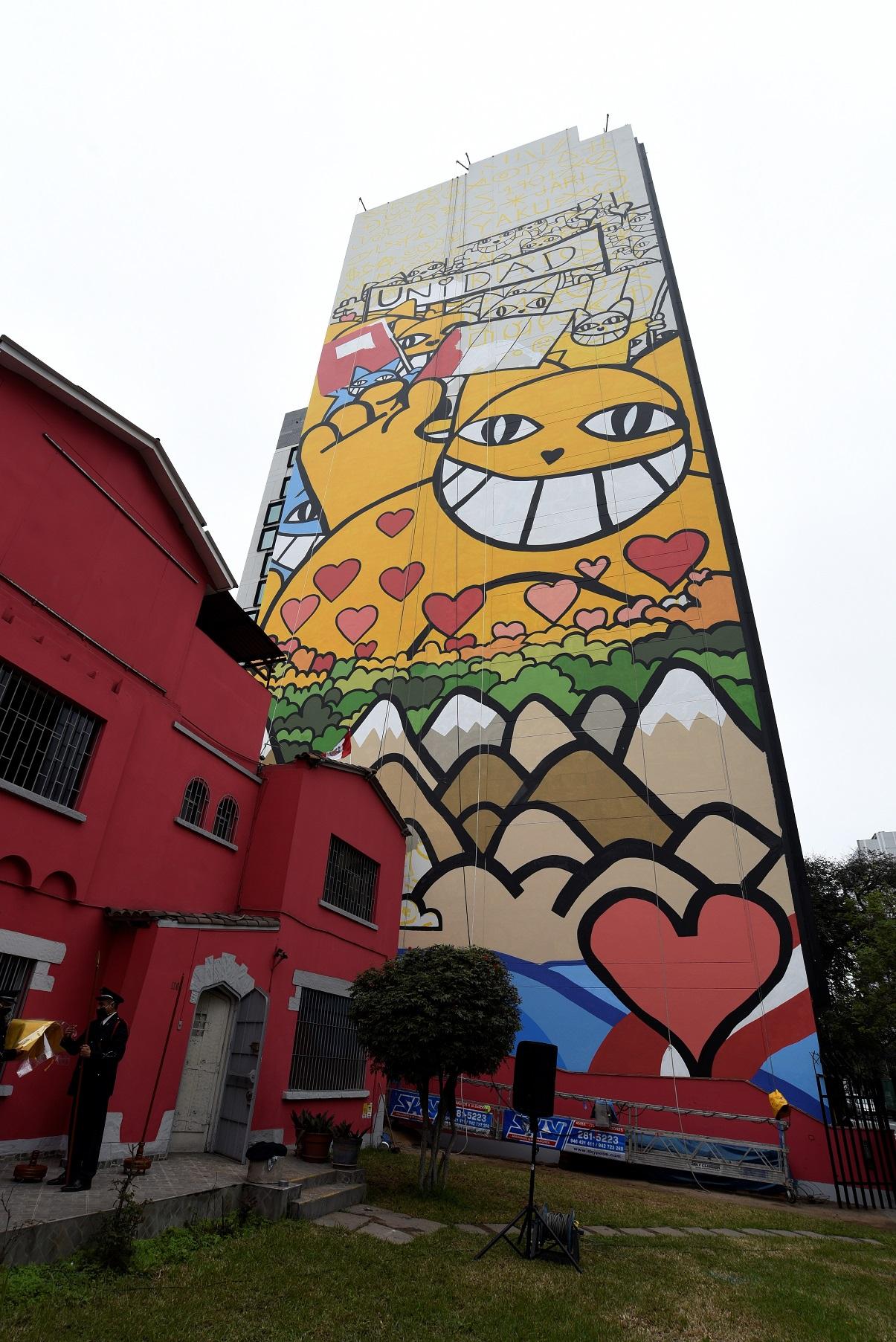 Foto de La huella de Monsieur Chat, el mural de la amistad por el Bicentenario del Perú