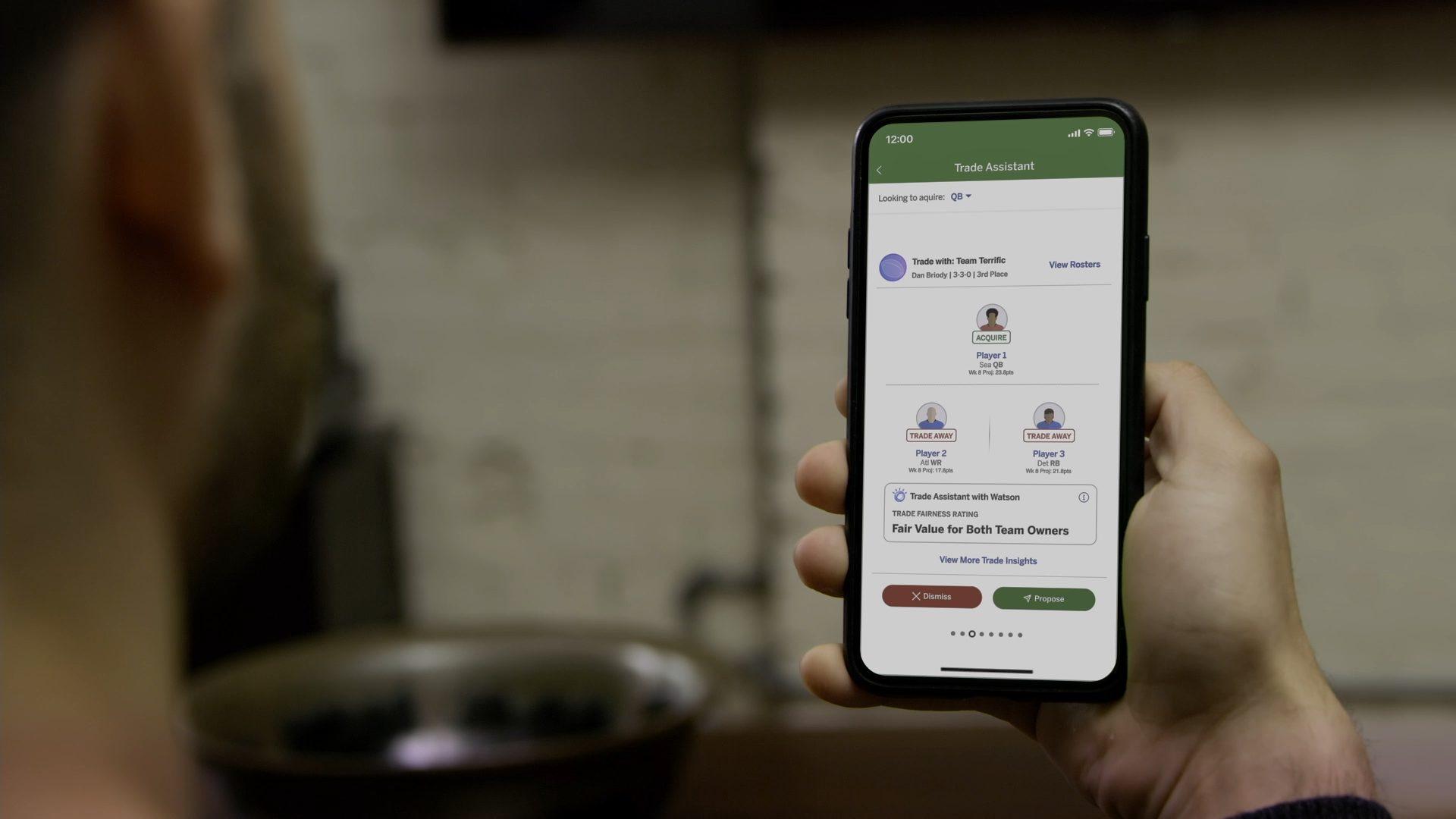 Foto de IBM crea experiencia personalizada para Fantasy Football con actualizaciones en el Trade Assistant with Watson y Player Insights, en la ESPN Fantasy App