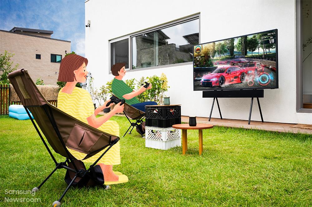 Foto de Un día en la vida del The Terrace: La TV para exteriores versátil, duradera y de alto rendimiento de Samsung